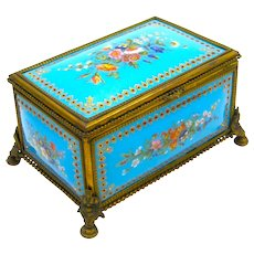 A Superb Palais Royal Antique Turquoise  Jewel Casket with Enamelled Panels by Tahan.