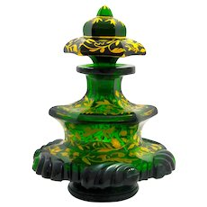A Large Antique Bohemian Deep Emerald Green Crystal Glass Gold Enamelled Perfume Bottle.