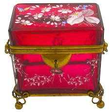 Antique MOSER Bohemian Cranberry Red Casket Box