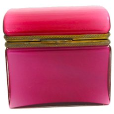 Super Antique Pink Opaline Overlay Glass Casket Box .