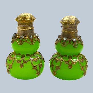 Pair of Antique Palais Royal Green Opaline Glass Perfume Bottles.