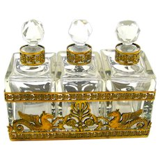 Napoleon III Dore Bronze and Crystal Perfume Set Comprising of 3 Perfume Bottles.
