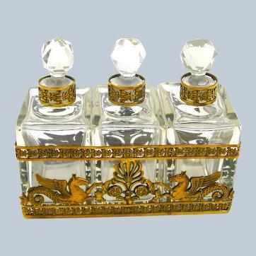 Napoleon III Dore Bronze and Crystal Perfume Set Comprising of 3 Perfume Bottles.