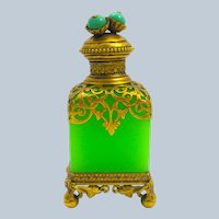 RARE Antique Palais Royal Green Opaline Glass Perfume Bottle with Fine Dore Bronze Mounts.