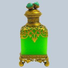 RARE Antique Palais Royal Green Opaline Glass Perfume Bottle with Fine Dore Bronze Mounts.