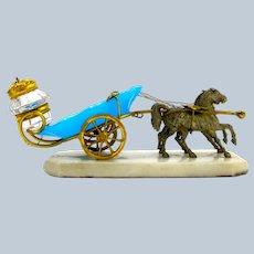 Antique Palais Royal Dore Bronze and Blue Opaline Glass Carriage