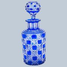 Antique BACCARAT Cobalt Blue Hobnail Cut Crystal Perfume Bottle and Original Stopper.