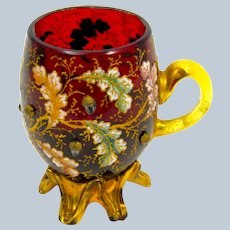 Antique Moser Ruby Red Glass Cup with Applied Acorns