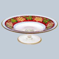 High Quality Antique Bohemian MOSER Enamelled Tazza Dish.