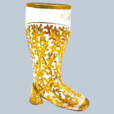 Antique Bohemian Whimsical Clear Glass Gold Encrusted Boot.