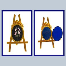 Antique French Pietra Dura Photo Frame on Dore Bronze Easel.