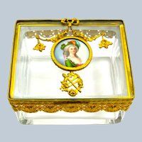 A Fine Palais Royal Dore Bronze and Crystal Casket with Porcelain Miniature