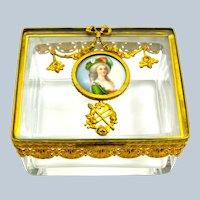 A Fine Palais Royal Dore Bronze and Crystal Casket with Porcelain Miniature