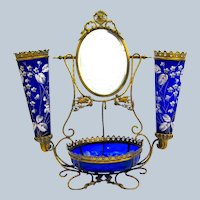 Large Antique French Cobalt Blue Glass Dressing Table Set