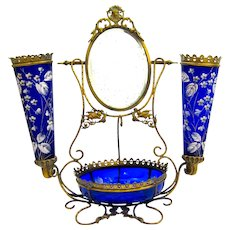 Large Antique French Cobalt Blue Glass Dressing Table Set
