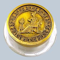 Antique Napoleon III Round Engraved Casket with a Dore Bronze Classical Lid .