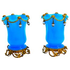 Pair of Antique French Palais Royal Blue Opaline Glass Vases with Pale Blue Opaline Glass Baubles