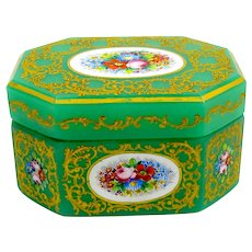 Stunning Large Antique Green Opaline Glass Casket with Clipped Corners and Panels of Flowers.