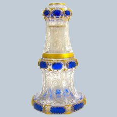 Antique Bohemian Moser Carafe with Lapis Blue Cabochons