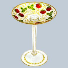 Antique Bohemian MOSER Enamelled Tazza Decorated with Pretty Strawberries.