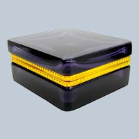 Antique Square Amethyst Glass Casket Box with Fancy Dore Bronze Mounts and Lift Clasp.