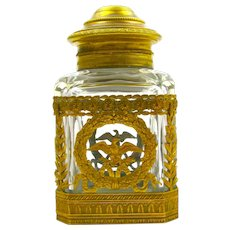 A Large Antique Napoleon III Cut Crystal and Dore Bronze Perfume Bottle