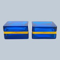 Pair of Antique Clear Turquoise Blue Glass Casket Box with Fancy Dore Bronze Mounts