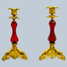 Pair of Antique French Ruby Red Crystal Candlesticks with Fine Dore Bronze Mounts.