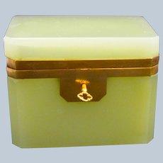 Rare Vintage Italian Murano Lemon Yellow Glass Casket Box with Smooth Dore Bronze Mounts.