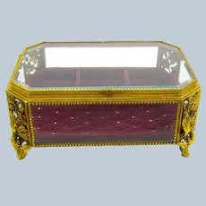 Antique French Dore Bronze and Crystal Jewellery Casket