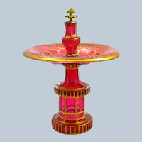 High Quality Antique Bohemian Cranberry Glass Centrepiece Decorated All Over with Gilded Decoration.