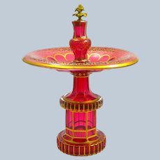 A Tall High Quality Antique Bohemian Cranberry Glass Centrepiece Decorated All Over with Gilded Decoration