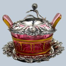 Miniature Antique French Cranberry Dish with Silver Plate and Lid with Pretty Bird.