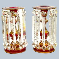 A Pair of Antique Bohemian Glass Lustres Decorated with Red Jewel Cabochons
