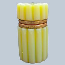 Rare Antique French Yellow Opaline Glass Casket with Fine Dore Bronze Mounts.