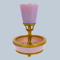 Rare Antique Pink Opaline Glass Centrepiece Comprising of Central Bowl with Dore Bronze Mounts.