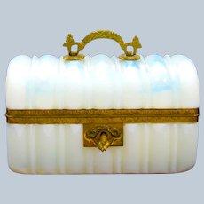 Super Antique French Bulle de Savon Opaline Glass Bombe Casket