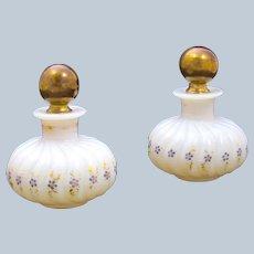 Pair of Antique Baccarat White Bulle de Savon Oplaine Glass Perfume Bottles Circa 1820