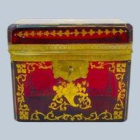 Antique MOSER Deep Ruby Red Casket with Gilded Enamel Cornucopia Design