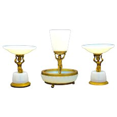 Set of Three Antique French White Bulle de Savon Opaline Glass Vases