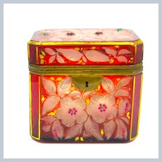 Antique Bohemian Glass Casket with Jewelled Flowers