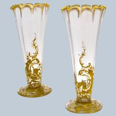 Pair of Antique St Louis Gilded Crystal Vases with Pretty Undulating Rims.