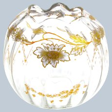 Antique French St Louis Bowl with Pretty Enamelled Daisy Design and Undulating Rim