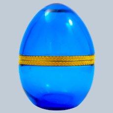 Large Antique Clear Blue Opaline Glass Egg Casket Box Fancy Dore Bronze Mounts