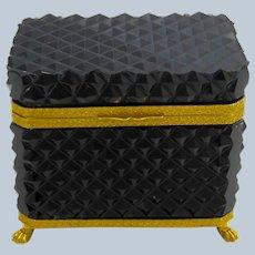 Rare Antique Black Opaline Diamond Cut Rectangular Casket Box