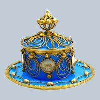 Magnificent Antique Palais Royal Blue Opaline Glass Set Comprising of Plate, Bowl and Cover