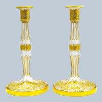 Pair of Large Antique St Louis Crystal Gilded Enamel Glass Candlesticks.