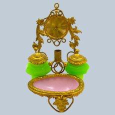 A Beautiful Palais Royal Opaline Glass Ink Set Set and Watch Holder