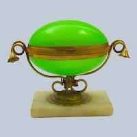 Antique Palais Royal Green Opaline Glass Egg Shaped Box