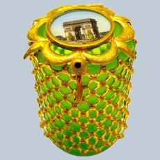 Antique Palais Royal Green Opaline Glass Box with Miniature of L'Arc de Triomphe.
